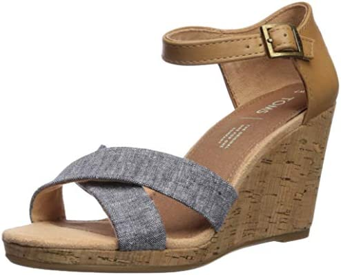 TOMS Women's Sienna Espadrille Wedge Sandal, Navy Chambray